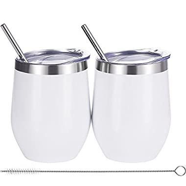 Skylety 12 oz Double-insulated Wine Tumbler, Stainless Steel Tumbler Cup with Lids and Straws for Wine, Coffee, Drinks, Champagne, Cocktails, 2 Sets (White)