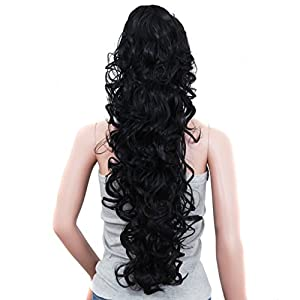"""S-ssoy 31""""(78cm) Women's Curly Pony Tail Hair Piece Synthetic Claw Clip Ponytail Wavy Long Curled in Hair Extension Extensions Long/Voluminous Wig Hairpieces for Women Girls Lady, 1B#"""