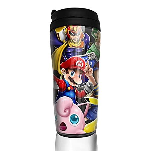 Super Smash Bros Kirby Pikachu Mario Taza de café Hombres Mujeres Aislamiento Agua Copa Viajes Oficina Obras al aire libre Novedad Regalo de cumpleaños 12 oz Capacidad