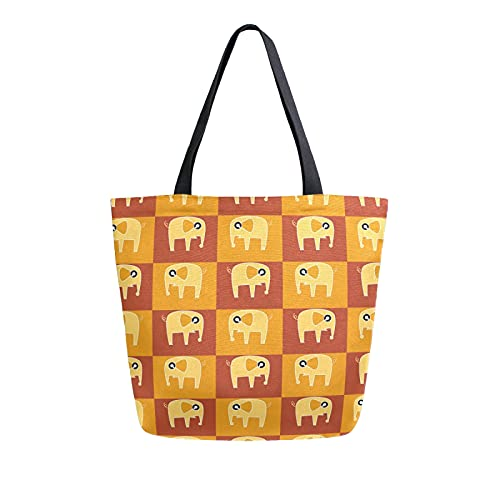 SunsetTrip - Bolsa de lona para mujer, diseño de elefante africano de dibujos animados, bolsa de hombro reutilizable grande, bolsa de compras con bolsillo interior