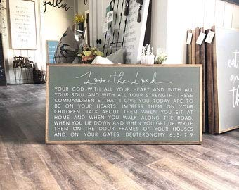 oqsyyxgs Wood sign Horizontal Love The Lord Your God With All Your Heart. Deuteronomy 6:5-7, 9 Framed Wood Sign