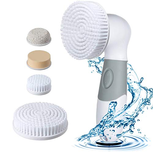 Price comparison product image GLOWING CARE Facial Cleansing Brush - Waterproof Electric 4 in 1 Spin Brush Set For Face And Body - Deep Pore Cleaner For Acne And Exfoliates Dead Skin And Removes Blackheads - Perfect Makeup Cleanser