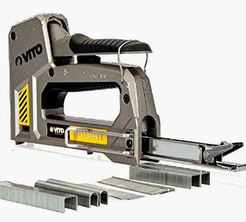 VITO Pro Tacker Set - Hochwertiger & robuster Werkzeugtacker Set, Handtacker mit Klammern 6in1 mit einstellbarer Schusskraft - Inkl. 6500 Klammer/Nägel 6-14mm