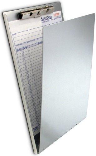 Läufer 30188 aluminum Klemmbrett für DIN A4, flache gezahnte Klemme, stabile Schreibplatte, Hängeloch, Abgerundete Ecken, Silber
