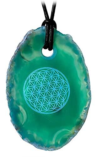 Kaltner Präsente Idea de regalo – Collar de cuero para hombre y mujer con colgante de piedra preciosa ágata verde lásera flor de la vida (5 cm de diámetro)