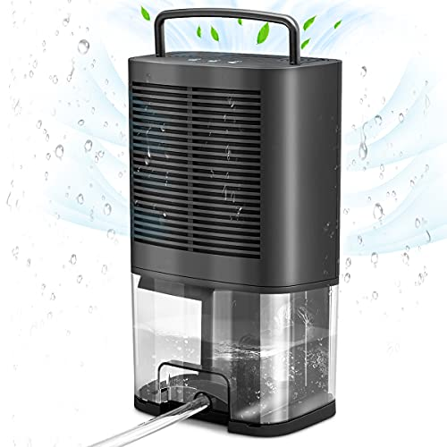 Donatello Dehumidifier with Drain Hose, 2000ml(68oz) Small Dehumidifiers for Basements 350 Sq.Ft, Portable Dehumidifier for Home Bedroom Bathroom RV Garage Closet with Ultra Quiet and Auto-Off