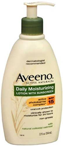 Aveeno Daily Moisturizing Body Lotion with Broad Spectrum SPF 15 Sunscreen, Soothing Oat & Rich Emollients to Nourish Dry Skin, Non-Greasy, 12 fl. oz (Pack of 2)