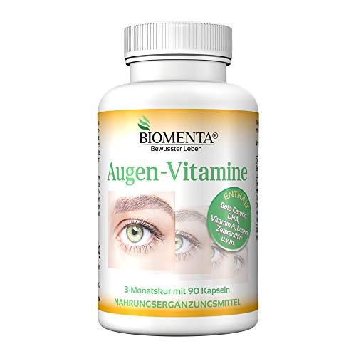 BIOMENTA VITAMINAS OJO – con BETACAROTENE + LUTEINA y ZEAXANTHINA + VITAMINA A + DHA + VITAMINA C + ZINC - Soportes la humedad de los ojos & Visión mejorar - 90 vegetariano Cápsulas 3 Meses