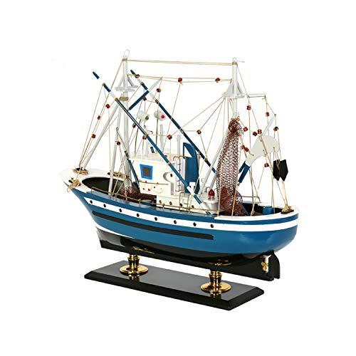 MYRCLMY Sailboat Ship Kit Home DIY Modelo, 60 Cm Classical Wooden Sailing Boats Scale Modelo Decorat, Modelo De Madera Modelo Kits De Barco para Niños Y Adultos Regalos Juguete,Azul