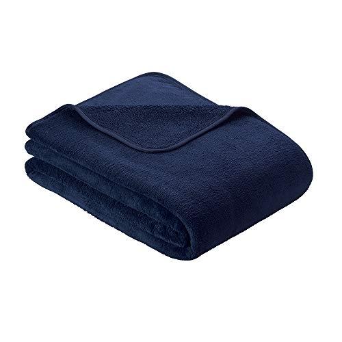 s.Oliver Kuscheldecke 150x200cm Flauschige Wohndecke - warme Microfaser Decke dunkelblau, hochwertig eingefasst