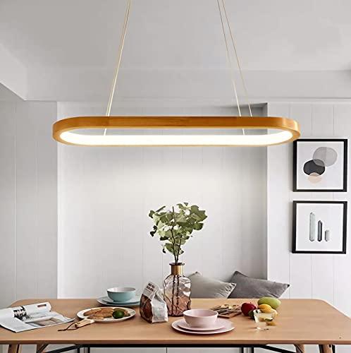 YDZB Luces colgantes Mesas de comedor de madera modernas Luces colgantes Luz de techo regulable LED Candelabro de altura ajustable Sala de estar Dormitorio Cocina Lámpara de iluminación (90cm)