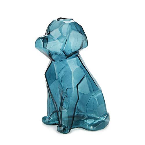 Balvi Florero Sphinx Color Esmeralda Jarrón Cristal Esmeralda en Forma de Perro Floreros Decorativos Modernos, tamaño XL Borosilicato 23x11x13