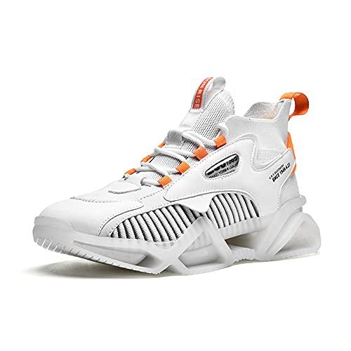 BAIDEFENG Zapatos Tenis cómodos,Zapatillas de Plataforma Alta, Zapatillas de Deporte de Alto Equilibrio elástico-White_45
