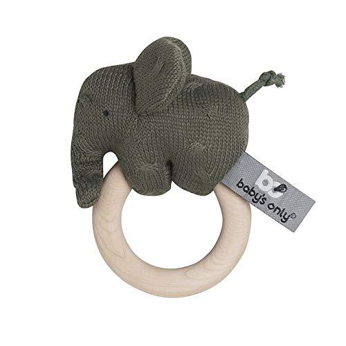 BO BABY'S ONLY - Baby Rassel Elefant - Babyspielzeug 0+ Monate - Aus Holz - Mit gestricktem Stofftier - Khaki