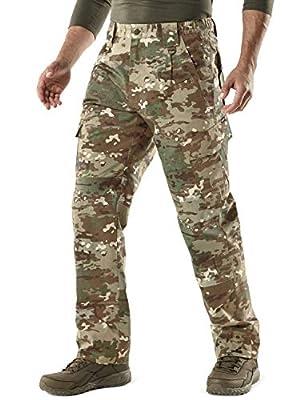 CQR Men's Tactical Pants, Water Repellent Ripstop Cargo Pants, Lightweight EDC Hiking Work Pants, Outdoor Apparel, Duratex(tlp106) - Utility Camo, 44W x 32L