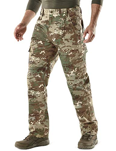 CQR Men's Tactical Pants, Water Repellent Ripstop Cargo Pants, Lightweight EDC Hiking Work Pants, Outdoor Apparel, Duratex(tlp106) - Utility Camo, 42W x 32L