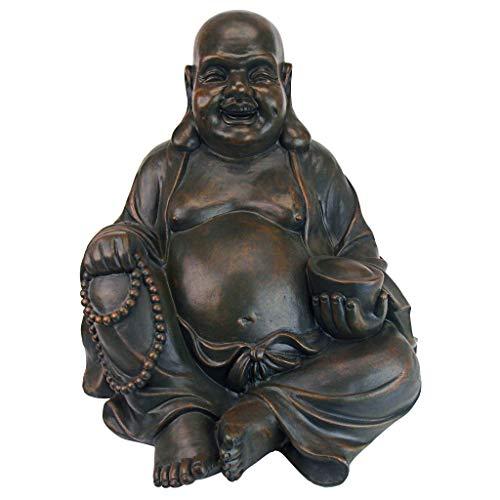 Design Toscano AL38249 Laughing Buddha Happy Hotei Asian Garden Statue, Verdigris