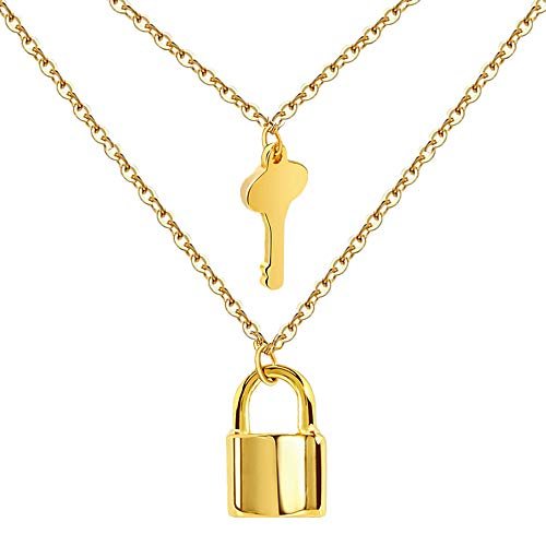Stainless Steel Necklace With Lock and Key Pendant 18K Gold Plated Adjustable Punk Multilayer Long Chain Choker Necklace Jewelry Set for Women Girls