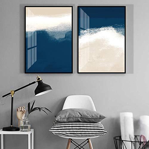 ThinkingPower Abstracto Azul Marino Creativo Lienzo Pinturas Carteles impresión Arte de Pared único para Sala de Estar Dormitorio Estudio decoración 27.5'x35.4 (70x90cm) x2 sin Marco