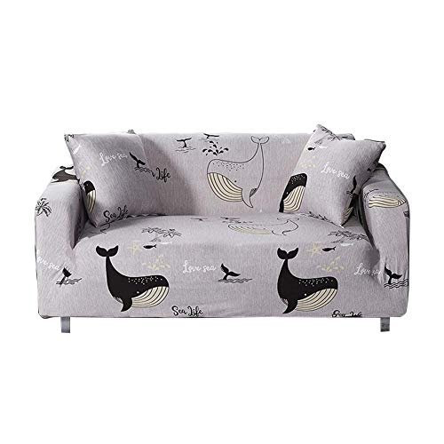 Ecisi Stretch Sofa Schonbezug Sofabezug, Dolphin Bay Lovers Style Universal Polyester Anti-Rutsch-Sofabezug, abwaschbarer Möbelbeschützer Soft All-Inclusive-Faltbezug