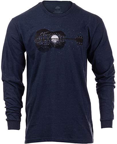 Acoustic Guitar Moonrise | Guitarist Musician Music Player for Man Woman Long Sleeve T-Shirt-(Adult,3XL) Vintage Navy