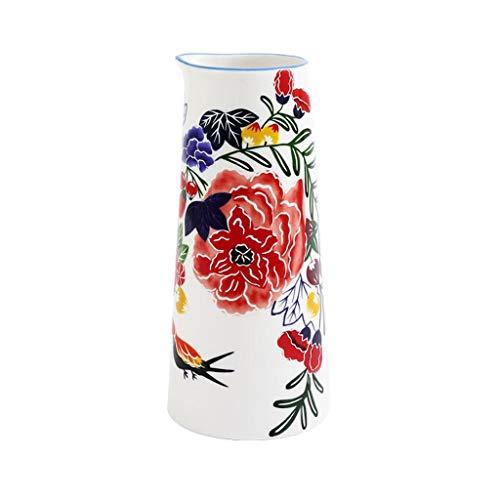 Maceta Estilo pastoral de cerámica pintada a mano florero pequeña flor decoración florero botella disposición de la técnica blancos 7,8 pulgadas (excluidas las plantas) Con Agujero De Drenaje Macetas