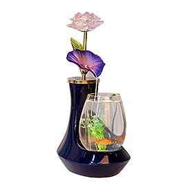 JIANGU European Ceramic Glass Fish Tank – Water Fountain Desk Living Room TV Cabinet Desktop Decorations, Dark Blue Aquarium -25cm*18cm*42cm