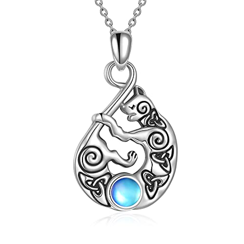 Infinity Cat Pendant Necklace for Women Sterling Silver Celtic Trinity Knot Moonstone Necklace Gifts for Girls