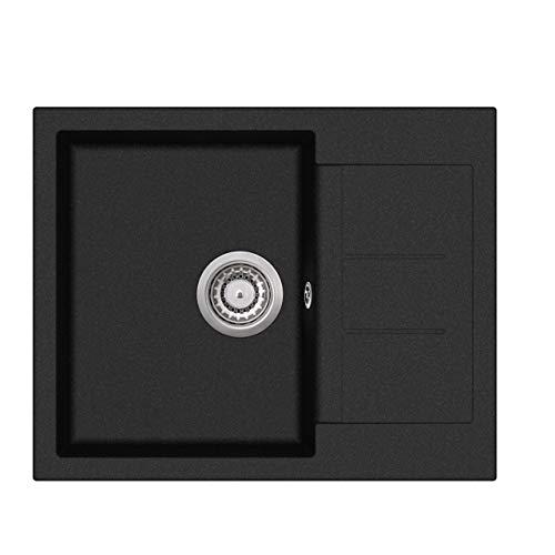 Granit Einbauspüle Küchenspüle Spülbecken Spüle mit Abtropffläche eckig schwarz 62 x 50 cm