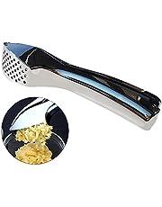 Prensa de ajos de acero inoxidable,Prensa manual de ajos Trituradora de jengibre Cortador de ajo,con mango de acero inoxidable Fuerte y Resistente