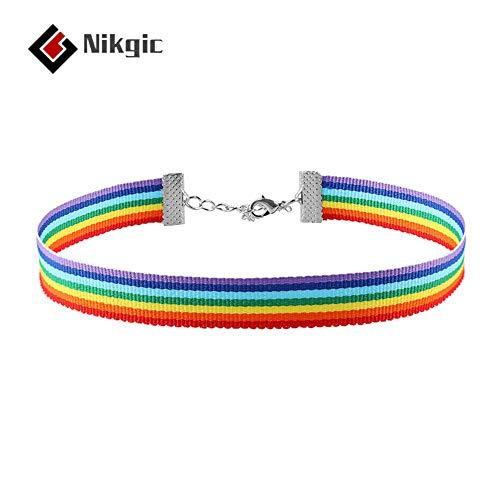 Nikgic Rainbow Choker 30 * 1 cm Halskette modische Persönlichkeit Geschenk Frühjahr Sommer geeignet für alle Arten von Frauen Zubehör Hand gestrickte Halskette Zubehör für den Alltag und Urlaub