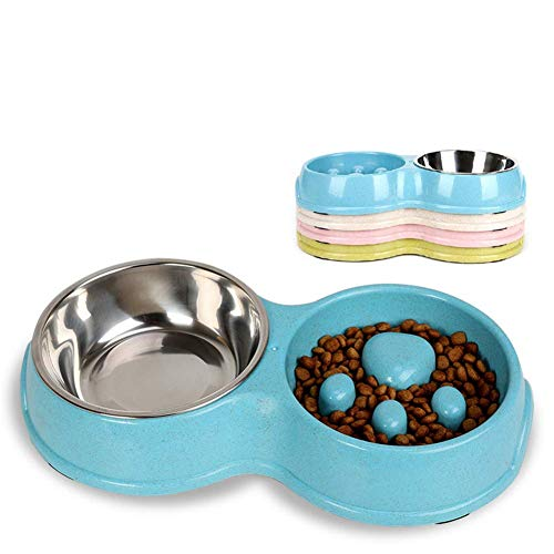 Rantow Double Dogs Bowls - Non-Slip Slow Feeder Dog Bowl Preventing Choking Fun Stainless Steel Pet Drink Water Bowl for Medium Small Dogs Cats (Blue)