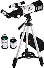 【High Quality Optics】400mm(f/5.7) focal length and 70mm aperture, fully coated optics glass lens with high transmission coatings creates stunning images and protect your eyes. Perfect telescope for astronomers to explore stars and moon. 【High Magnifi...