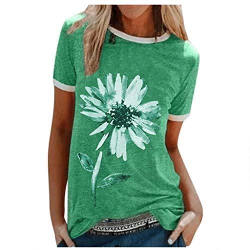 Xniral Damen Good T-Shirt Chrysantheme Muster Shirt Rundhals Kurzarm Oberteile Hemd Tops Bluse Sommer Oben Grafik Drucken Tee(c-Grün,L)