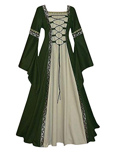 Qianshan Maomo Womens Vintage Dresses Celtic Long Sleeve Medieval Maxi Dresses Renaissance Gothic Cosplay Dress Green