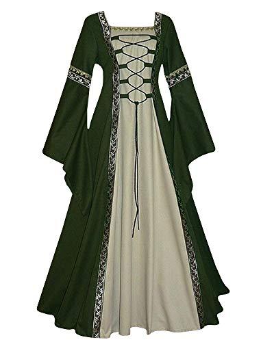 Qianshan Maomo Womens Vintage Dresses Celtic Long Sleeve Medieval Maxi Dresses Renaissance Gothic Cosplay Dress Green