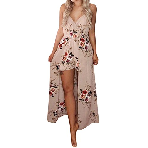 FRAUIT dames jumpsuit V-hals overall bloemen mouwloos sling playsuit strand broekpak casual shorts zomerjurk speelpak zomer