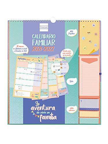 Finocam - Calendario de Pared Familiar Aventura Plus 16 meses 2021 2022 Mes Vista Español, plus - 340 x 380