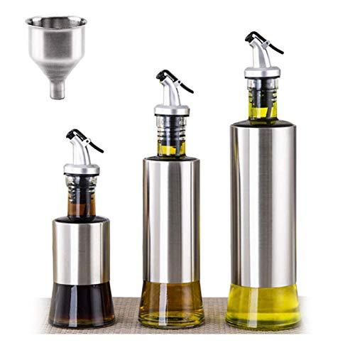 U/N Botellas de Vidrio de Oliva Aceite vinagre Conjunto (Paquete de 3) Aceite de Oliva Botella Drizzler, Acero Inoxidable/Vidrio para la Cocina con Embudo
