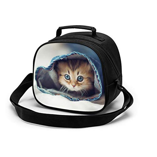 Cat Kids Lunch Bag Insulated Durable Thermal Cooler Bag Cute Small Lunch Bag Children's Lunch Tote with Adjustable Shoulder Strap for Girls Boys School or Travel
