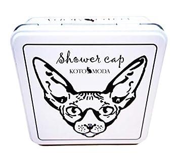 Kotomoda Bonnets de Douche pour Chats Sphynx et Autres Chats sans Poils dans Une boîte Cadeau en étain