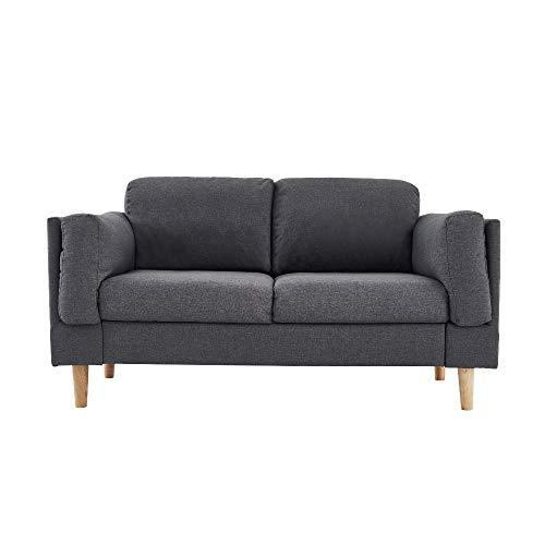 Wealthgirl Sofá de sofá moderno con tapizado de tela de mediados de siglo, para sala de estar, dormitorio, oficina, apartamento, dormitorio, estudio y espacio pequeño (gris, dos asientos)
