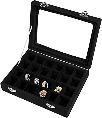 Recet Joyero para mujer, 24 compartimentos, caja para joyas, caja para anillos, pendientes, collares, color negro