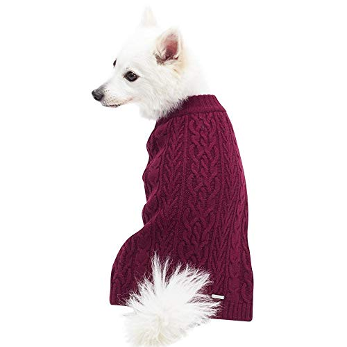 Blueberry Pet Classic Cable Knit Rosy Pink Dog Sweater, Back Length 12', Pack of 1 Clothes for Dogs
