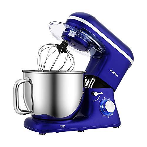 Aucma Amasadora de cocina, 7 litros, amasadora, 6 velocidades, con varillas, gancho para amasar, batidor, protección contra salpicaduras y bol de acero inoxidable, 1400 W, color azul