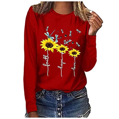 Nuevo 2021 Camiseta Manga Larga de mujer, otoño Elegante Casual girasol impresión Blusa basic camisa Cuello redondo Cómodo Camiseta Suelto Tops fiesta primavera T-Shirt original