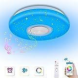 Kaigelu888 Lámpara LED de Techo con Altavoz Bluetooth, 36W Bluetooth Luces Cool Blanco Calido Ajustable RGB Cambio de Colorlámpara Techo para Dormitorio, Sala, Pasillo, Comedor (A-36W)