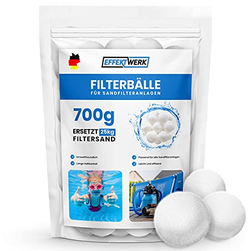 EFFEKTWERK Filterbälle Pool - Ersetzt 25kg Filtersand Quarzsand - Profi Filterbälle für Sandfilteranlage - Filterballs Pool - Filterballs für Sandfilteranlagen - Poolzubehör - Poolfilter Balls