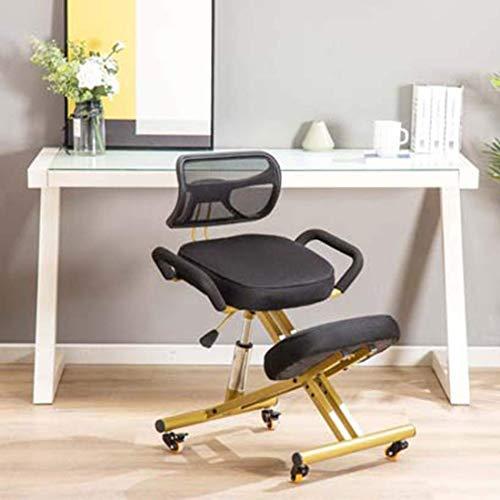 Ergonomisch ontworpen kniestoel met rug en handvat Knielende bureaustoel Ergonomische houding Leren zwarte stoel met zwenkwiel