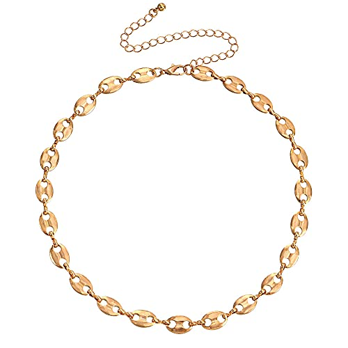 Collar de cadena de disco ovalado de una sola capa colgante para mujer